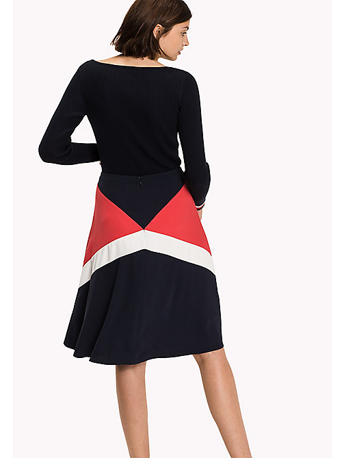 TOMMY HILFIGER Fitted Satin Skirt - MIDNIGHT / TRUE RED/ SNOW WHITE - TOMMY HILFIGER Dresses, Jumpsuits & Skirts - detail image 1