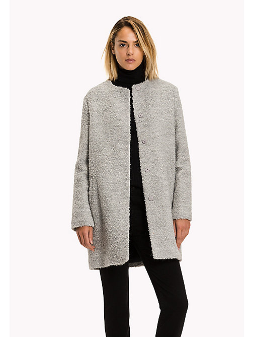 TOMMY HILFIGER Boucle Wool Coat - LIGHT GREY HTR - TOMMY HILFIGER Coats & Jackets - main image
