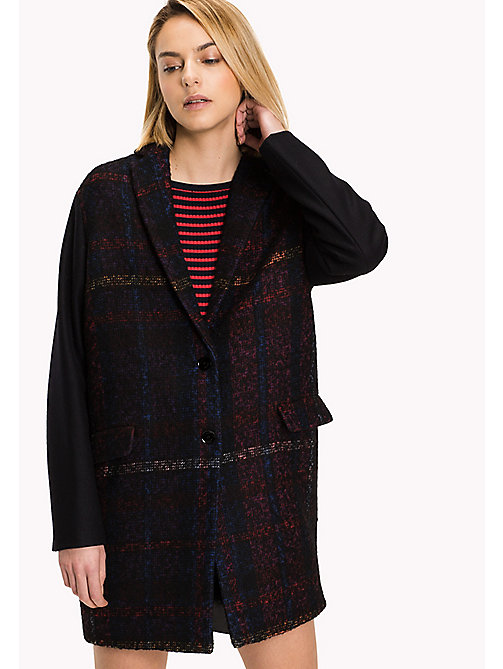 TOMMY HILFIGER Checked Boyfriend Wool Coat - RED TARTAN / MIDNIGHT - TOMMY HILFIGER Coats & Jackets - main image