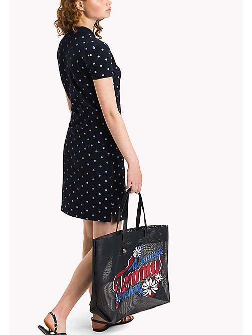 TOMMY HILFIGER Fitted Polo Dress - CLASSIC POLKA DOT PRT / NAVY BLAZER - TOMMY HILFIGER Мини - подробное изображение 1
