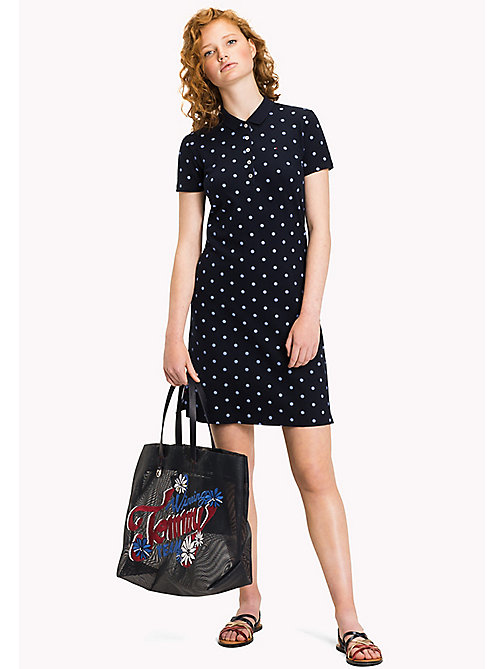 TOMMY HILFIGER Fitted Polo Dress - CLASSIC POLKA DOT PRT / NAVY BLAZER - TOMMY HILFIGER Mini - main image