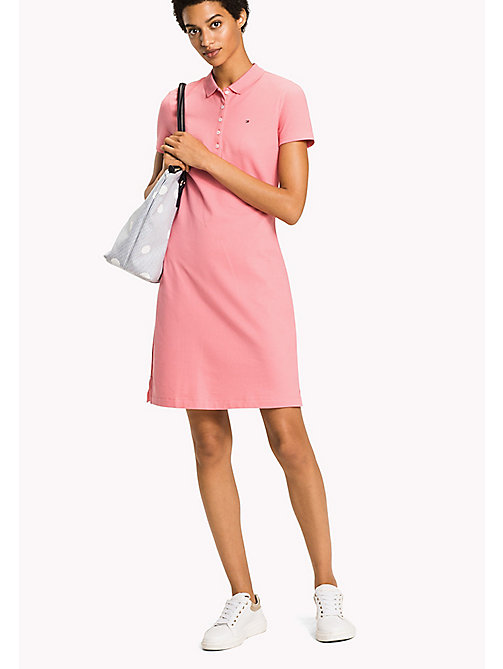TOMMY HILFIGER Fitted Polo Dress - BUBBLEGUM - TOMMY HILFIGER Vacation Style - main image