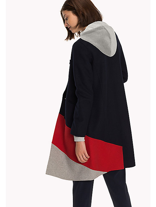 TOMMY HILFIGER Colour-blocked Wool Coat - GREY HTR / TRUE RED / MIDNIGHT - TOMMY HILFIGER Coats & Jackets - detail image 1