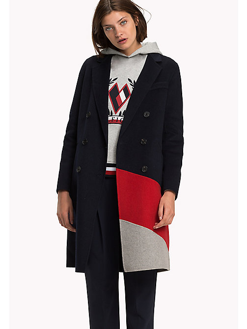 TOMMY HILFIGER Colour-blocked Wool Coat - GREY HTR / TRUE RED / MIDNIGHT - TOMMY HILFIGER Coats & Jackets - main image