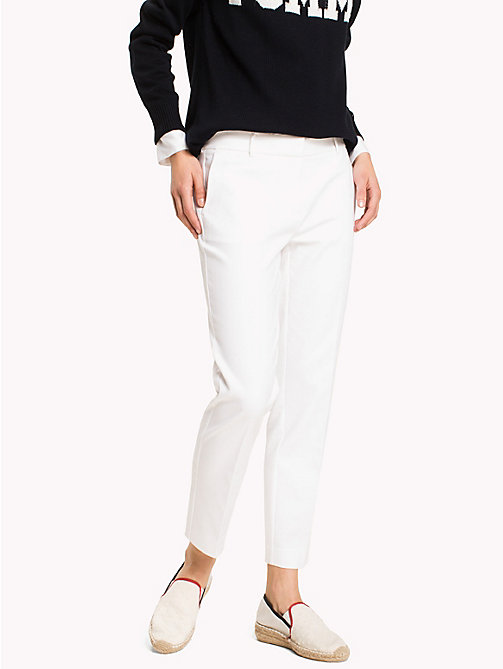 TOMMY HILFIGER Slim Fit Cropped Trousers - CLASSIC WHITE - TOMMY HILFIGER The Office Edit - main image
