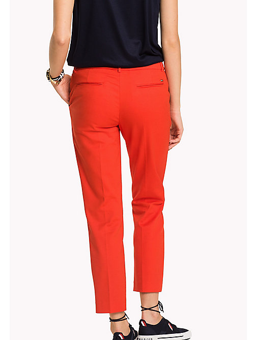 TOMMY HILFIGER Slim Fit Cropped Trousers - FLAME SCARLET - TOMMY HILFIGER Cropped Trousers - detail image 1