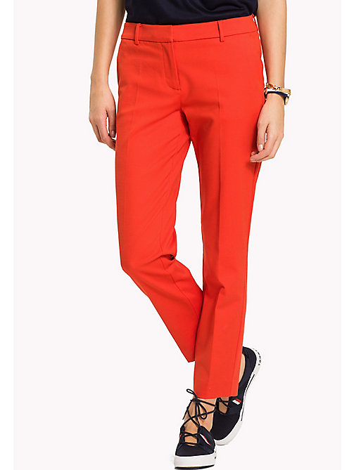 TOMMY HILFIGER Slim Fit Cropped Trousers - FLAME SCARLET - TOMMY HILFIGER Cropped Trousers - main image
