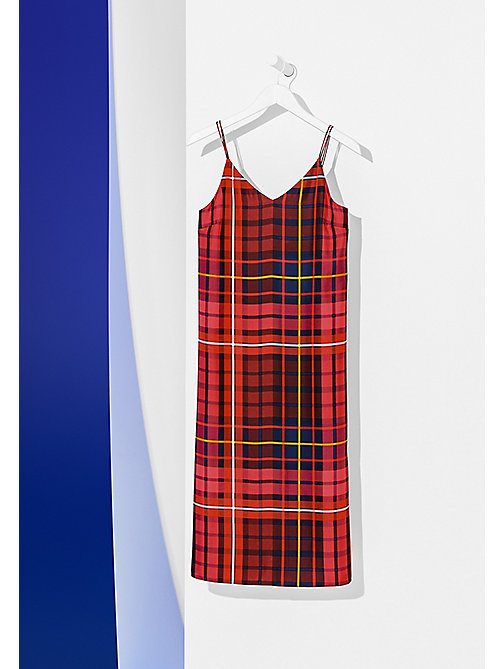 TOMMY HILFIGER Relaxed Fit Silk Slip Dress - TOMMY TARTAN LARGE RED - TOMMY HILFIGER Dresses, Jumpsuits & Skirts - detail image 1