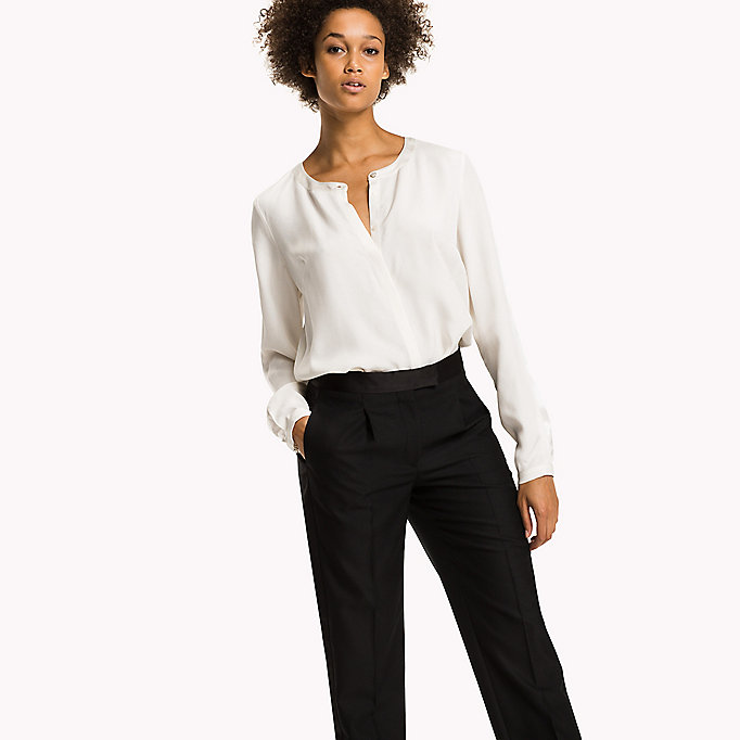 TOMMY HILFIGER Regular Fit Crepe Blouse - BLACK BEAUTY - TOMMY HILFIGER Clothing - main image