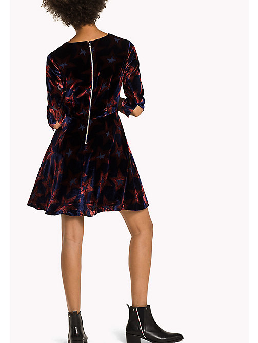 TOMMY HILFIGER Fitted Velvet Dress - HOLIDAY STAR PRT - TOMMY HILFIGER Dresses, Jumpsuits & Skirts - detail image 1