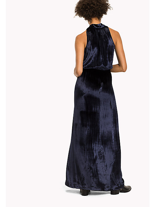 TOMMY HILFIGER Fitted Velvet Maxi Dress - PEACOAT - TOMMY HILFIGER Dresses, Jumpsuits & Skirts - detail image 1