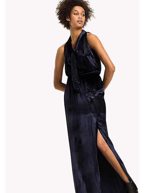 TOMMY HILFIGER Fitted Velvet Maxi Dress - PEACOAT - TOMMY HILFIGER Dresses, Jumpsuits & Skirts - main image