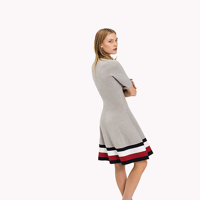 TOMMY HILFIGER Wool Flare Fit Dress - TRUE RED - TOMMY HILFIGER Clothing - detail image 1