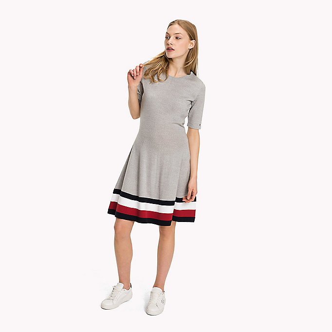 TOMMY HILFIGER Wool Flare Fit Dress - TRUE RED - TOMMY HILFIGER Clothing - main image