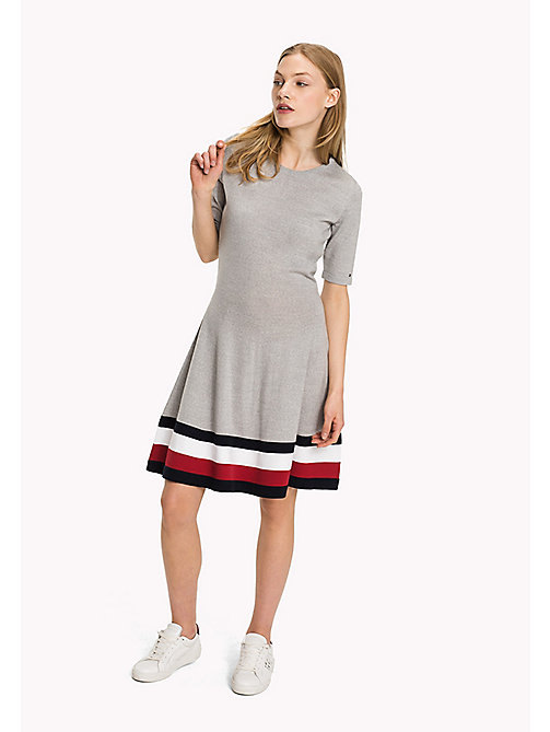 TOMMY HILFIGER Wool Flare Fit Dress - LIGHT GREY HTR - TOMMY HILFIGER Dresses, Jumpsuits & Skirts - main image