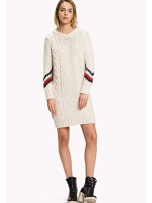 TOMMY HILFIGER Wool Blend Comfort Fit Cable Dress - SNOW WHITE - TOMMY HILFIGER Dresses, Jumpsuits & Skirts - main image