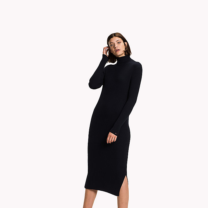 TOMMY HILFIGER High-Neck Fitted Maxi Dress - SNOW WHITE / MIDNIGHT - TOMMY HILFIGER Clothing - main image