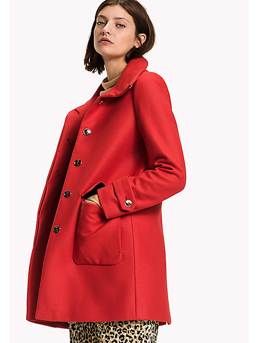 TOMMY HILFIGER Wool Blend Funnel Neck Coat - TRUE RED - TOMMY HILFIGER Coats & Jackets - main image