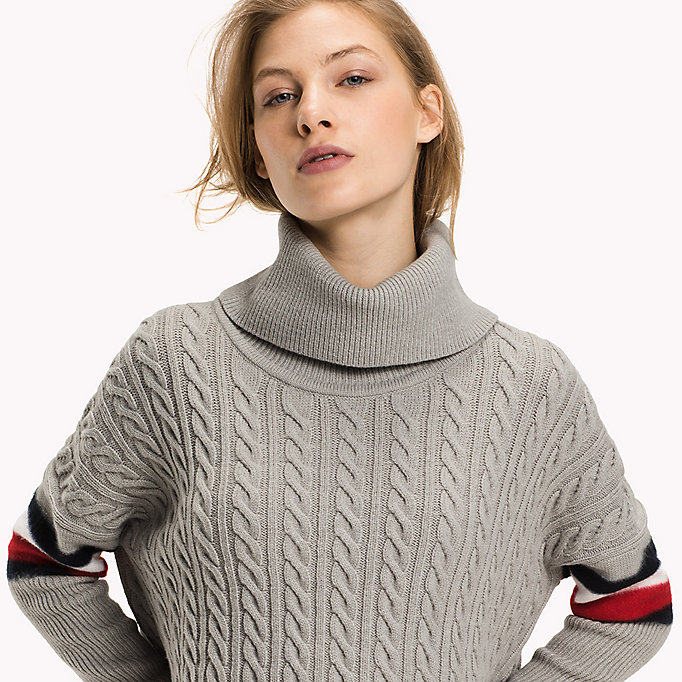 TOMMY HILFIGER Signature Stripe Cable Jumper - SNOW WHITE - TOMMY HILFIGER Clothing - detail image 2