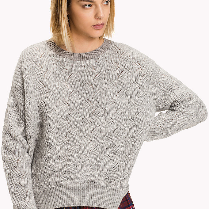 TOMMY HILFIGER Wool Blend Crew Neck Jumper - TAPIOCA - TOMMY HILFIGER Clothing - detail image 2