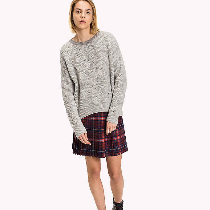 TOMMY HILFIGER Wool Blend Crew Neck Jumper - TAPIOCA - TOMMY HILFIGER Clothing - main image