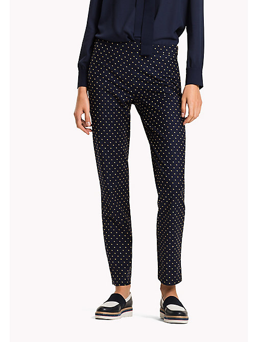 TOMMY HILFIGER Cotton Blend Slim Fit Trousers - TINY DOUBLE DOT PRT / PEACOAT - TOMMY HILFIGER Trousers - main image