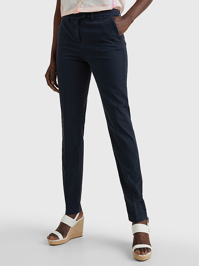 blue heritage skinny fit chinos for women tommy hilfiger