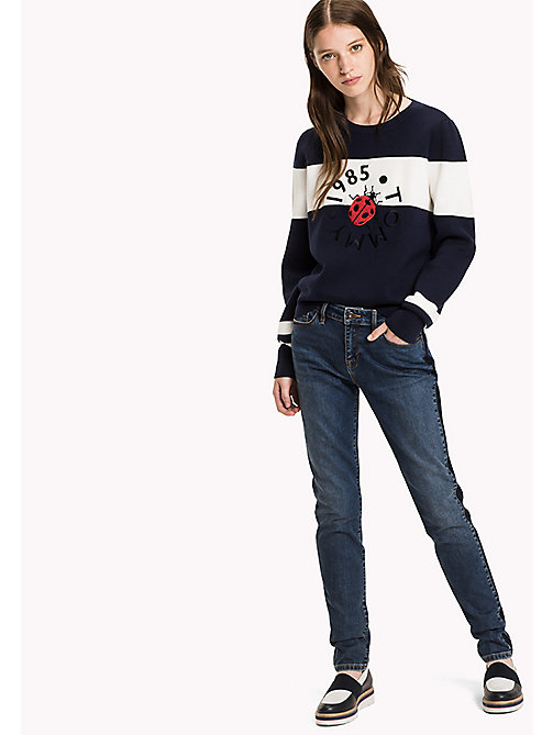 TOMMY HILFIGER Graphic Logo Jumper - PEACOAT / SNOW WHITE - TOMMY HILFIGER Knitwear - main image