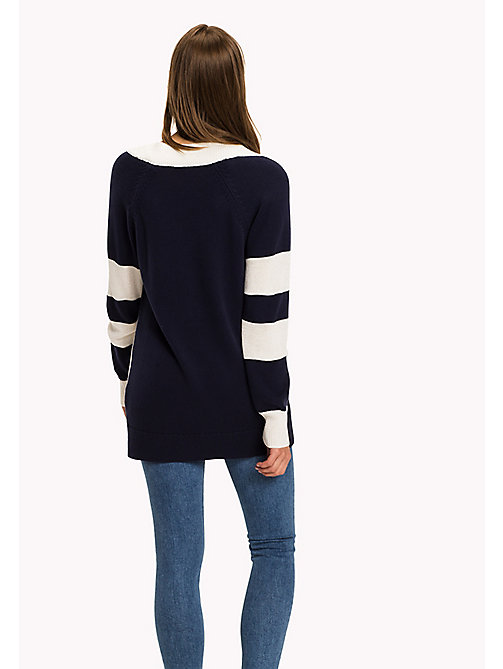 TOMMY HILFIGER Colourblocked Comfort Fit Jumper - PEACOAT / SNOW WHITE - TOMMY HILFIGER Knitwear - detail image 1