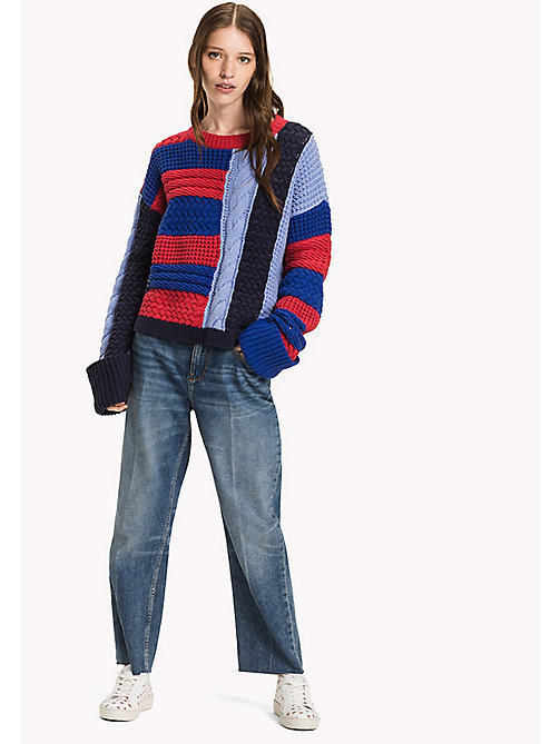 TOMMY HILFIGER Textured Cable Jumper - CRIMSON / PEACOAT/ SURF THE WEB / HYDRAN - TOMMY HILFIGER Knitwear - main image