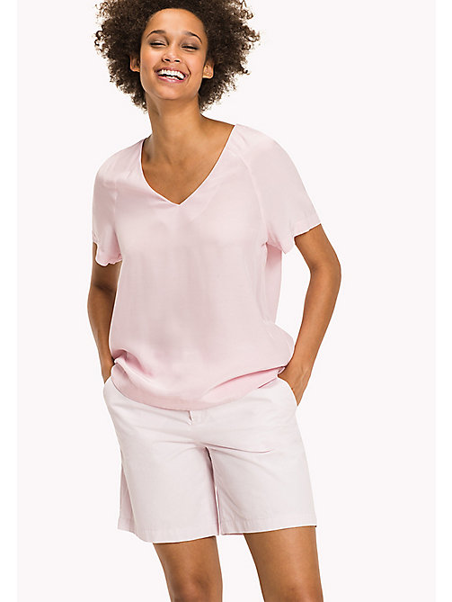 TOMMY HILFIGER Top in crêpe de chine - ORCHID PINK - TOMMY HILFIGER Maglie & Top - immagine principale