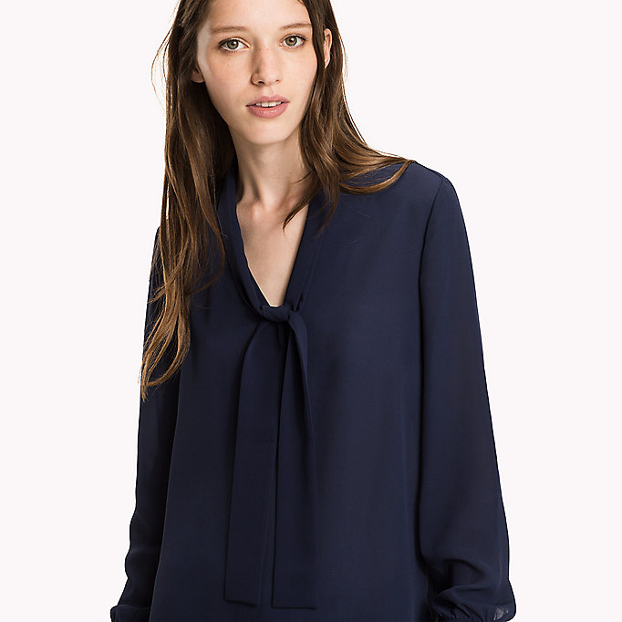 TOMMY HILFIGER Regular Fit Chiffon Blouse - SNOW WHITE - TOMMY HILFIGER Women - detail image 2