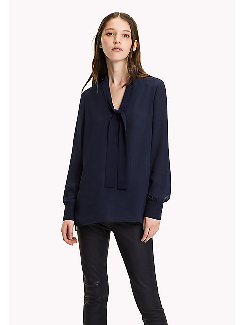 TOMMY HILFIGER Regular Fit Chiffon Blouse - PEACOAT - TOMMY HILFIGER Tops - main image