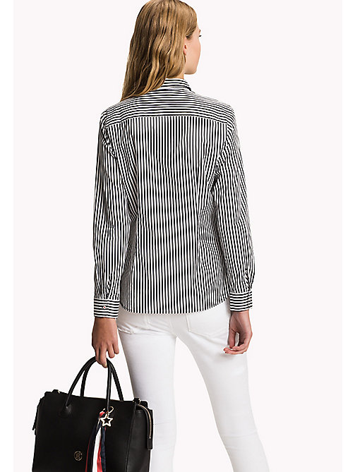 TOMMY HILFIGER Cotton Patterned Shirt - BLACK BEAUTY / CLASSIC WHITE STP - TOMMY HILFIGER Women - detail image 1