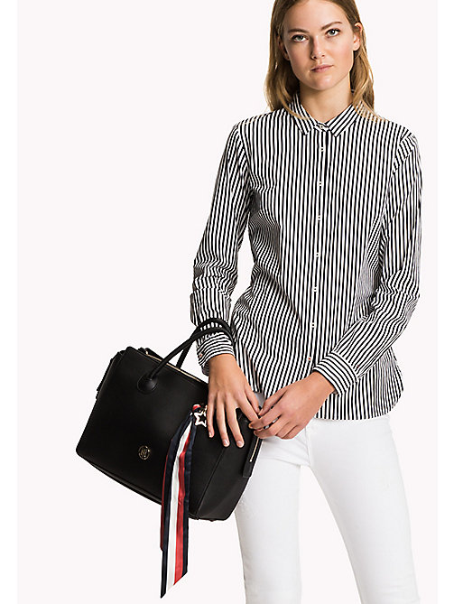 TOMMY HILFIGER Cotton Patterned Shirt - BLACK BEAUTY / CLASSIC WHITE STP - TOMMY HILFIGER Women - main image