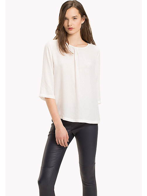 TOMMY HILFIGER Crepe de Chine Printed Top - SNOW WHITE - TOMMY HILFIGER Clothing - main image