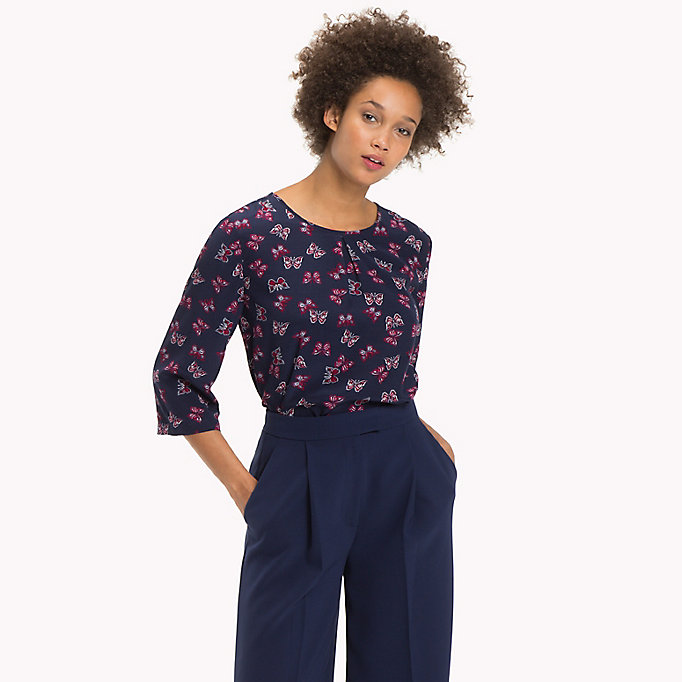TOMMY HILFIGER Crepe de Chine Printed Top - CRIMSON - TOMMY HILFIGER Clothing - main image