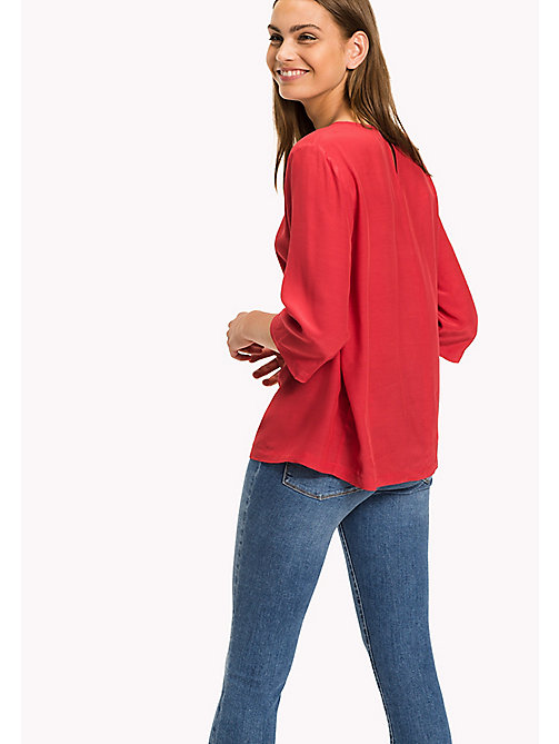 TOMMY HILFIGER Crepe de Chine Printed Top - CRIMSON - TOMMY HILFIGER Tops - detail image 1