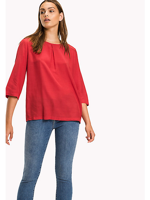 TOMMY HILFIGER Crepe de Chine Printed Top - CRIMSON - TOMMY HILFIGER Tops - main image