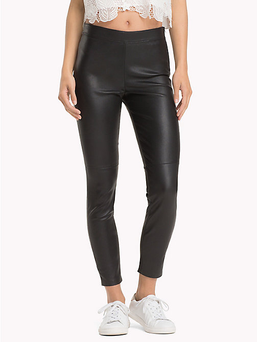 TOMMY HILFIGER Super Slim Fit Leather Jeggings - BLACK BEAUTY - TOMMY HILFIGER Leather Trousers - main image