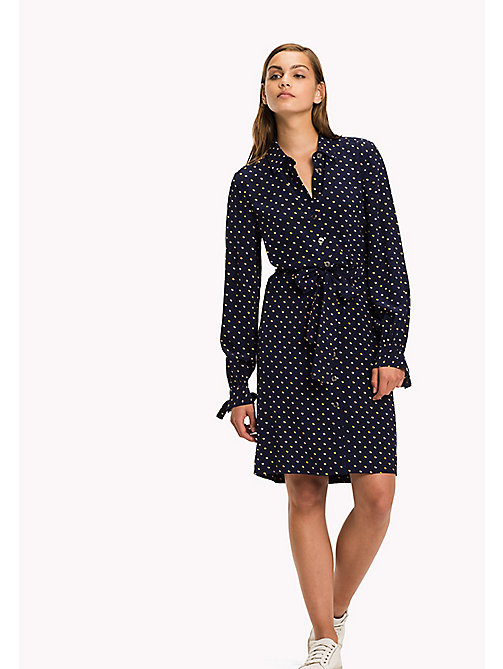 TOMMY HILFIGER Flag Print Shirt Dress - TINY DOUBLE DOT PRT / PEACOAT - TOMMY HILFIGER Dresses & Jumpsuits - main image