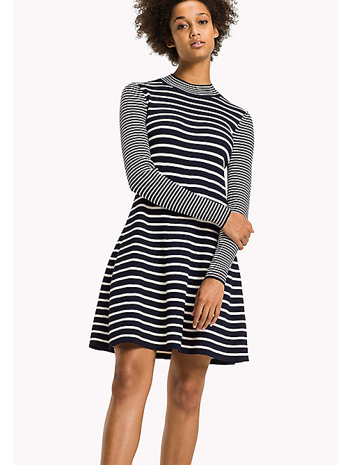 TOMMY HILFIGER Fit and Flare Striped Dress - PEACOAT / SNOW WHITE - TOMMY HILFIGER Dresses & Jumpsuits - main image