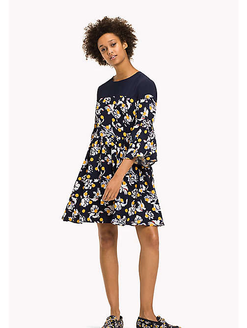 TOMMY HILFIGER Fitted Floral Print Dress - FLOWERY DOT / PEACOAT? FLOWERY DOT / PEA - TOMMY HILFIGER Dresses & Jumpsuits - main image