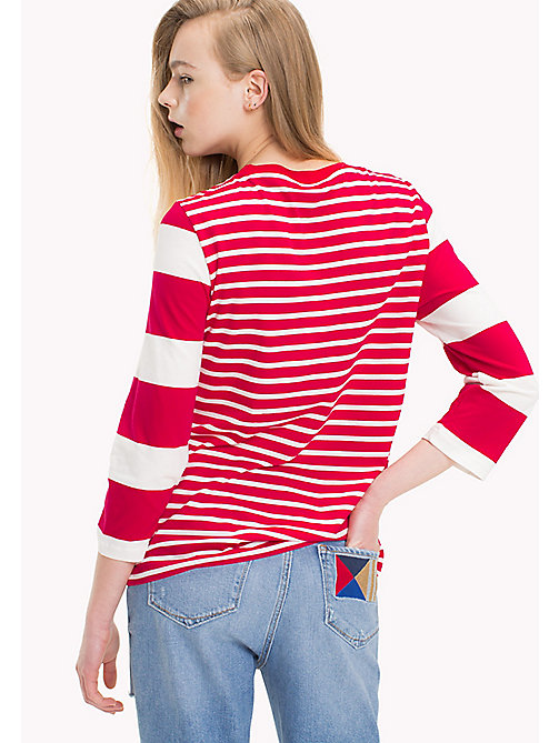 TOMMY HILFIGER Exclusive Striped Regular Fit Top - CRIMSON / SNOW WHITE - TOMMY HILFIGER Tops - detail image 1