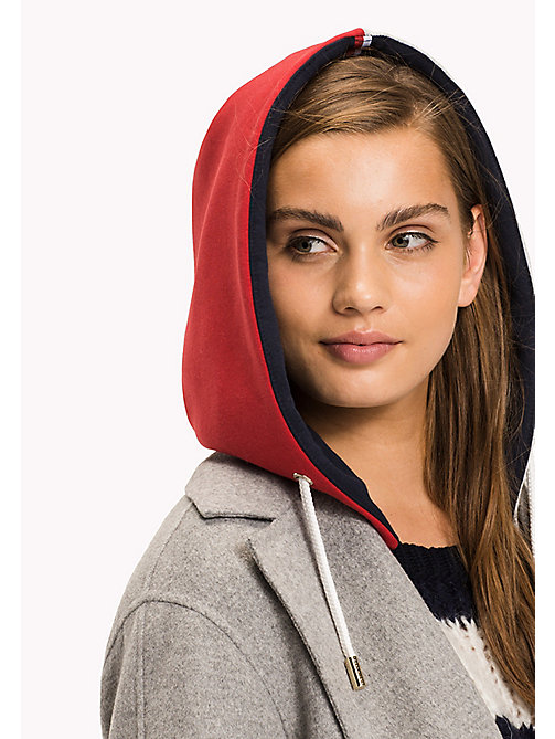 TOMMY HILFIGER Interchangeable Hood - LIGHT GREY HTR / PEACOAT / CRIMSON - TOMMY HILFIGER Clothing - main image