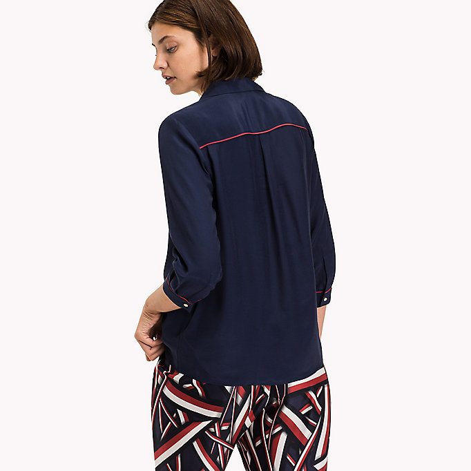 TOMMY HILFIGER Crepe de Chine Pop-Over Blouse - SNOW WHITE - TOMMY HILFIGER Clothing - detail image 1
