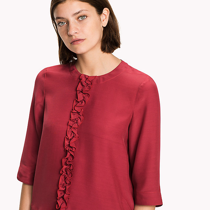 TOMMY HILFIGER Crepe de Chine Ruffle Top - MIDNIGHT - TOMMY HILFIGER Clothing - detail image 2