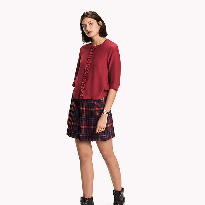TOMMY HILFIGER Crepe de Chine Ruffle Top - MIDNIGHT - TOMMY HILFIGER Clothing - main image