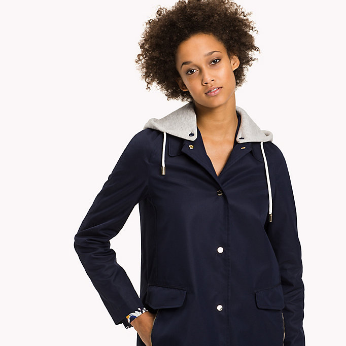 TOMMY HILFIGER Hooded Cotton Coat - PEBBLE - TOMMY HILFIGER Women - detail image 3