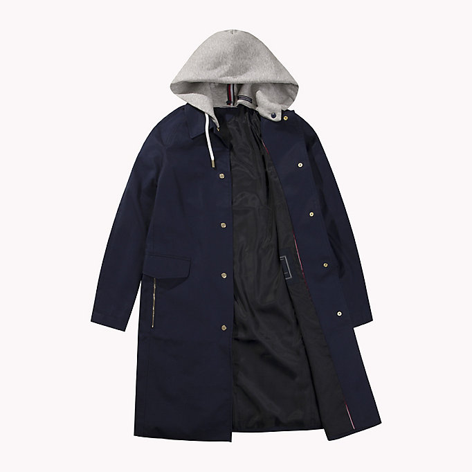 TOMMY HILFIGER Hooded Cotton Coat - PEBBLE - TOMMY HILFIGER Women - detail image 4